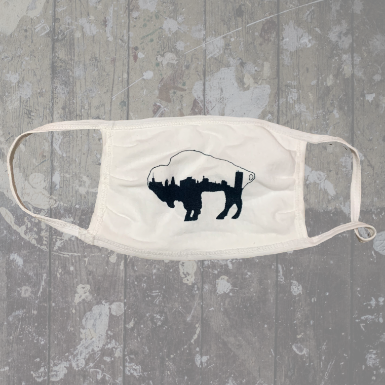 Navy Skyline Buffalo White Mask- $6.50